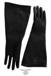 Solide paire de gants noir en latex de caoutchouc pour un look industriel et les pratiques BDSM les plus extr�mes.