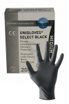 Pack de 20 gants chirurgicaux ambidextre en latex noir, taille small, medium ou large, par Mister B.