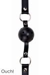 Ball Gag classique en cuir, m�tal et balle en ABS, coloris noir, marque Ouch!
