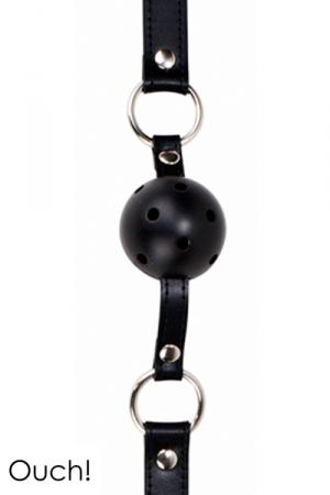 Ball Gag classique en cuir, métal et balle en ABS, coloris noir, marque Ouch!