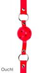 Ball Gag classique en cuir, m�tal et balle en ABS, coloris rouge, marque Ouch!