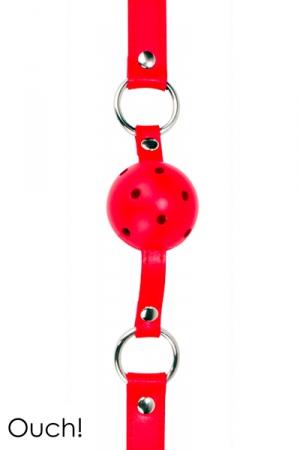 Ball Gag classique en cuir, métal et balle en ABS, coloris rouge, marque Ouch!