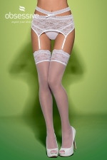 Swanita stockings white - Splendide paire de bas blancs de marque Obsessive, collection Swanita.