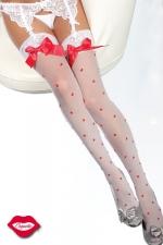 Bas Valentine - Bas sexy d'Amoureuse, parsemé de petits coeurs tendres et décorés d'un noeud satin sur la jarretière de dentelle.