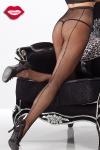 Collants en r�sille avec une couture arri�re �clair�e de strass qui remonte le long des jambes.