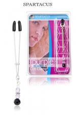 Pince Clitoris Purple beaded - Pince intime pour le Clitoris, ajustable et no-piercing, orné d'un pendentif de perles pourpres.
