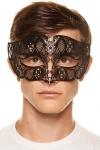 Masque v�nitien pour homme en m�tal noir cisel� au laser d�cor� de gemmes.