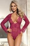 Body rose en voile et dentelle cils avec d�collet� profond qui sublime votre poitrine, marque Paris Hollywood.