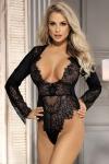 Body noir en voile et dentelle avec d�collet� profond qui sublime votre poitrine, marque Paris Hollywood.