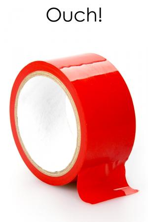 ruban de bondage rouge (20 m), non collant, utilisable pour toutes sortes de jeux coquins, au gré de vos fantasmes.