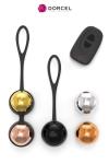 Coffret de 5 boules de Geisha interchangeables, vibrantes avec t�l�commande � distance, par Dorcel.