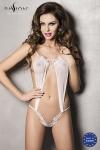Body �rotique fantaisie blanc en tulle et dentelle, une pure sensualit�.