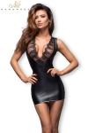 Mini robe extra moulante en wetlook, avec un d�collet� provocant en tulle brod� transparent.