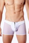 Boxer blanc �rotique pour homme avec jeux de mati�res et zip fonctionnel devant.