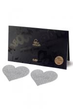 Bijoux de seins Flash Coeur Argent - Avec ces décorations permettant de cacher les mamelons, osez laisser le soutien-gorge au placard !