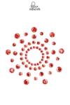 Bijoux de corps en strass rouges � poser en corole autour du mamelon pour un effet sexy garanti.