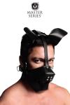 Masque de chien en cuir avec museau amovible et  gagged ball int�gr�, par XR Brands, collection Master Series.