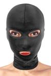 Cagoule BDSM avec 3 ouvertures pour profiter de la bouche de votre soumis, tout en le laissant mater et cacher son identit�.