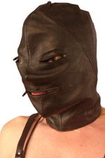Cagoule en cuir zippée et lacée - Cagoule en cuir noir zippée sur les yeux et la bouche.