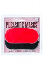 Masque simple - Assortiment de deux masques simples pour se bander les yeux et découvrir de nouveaux plaisirs en excitant différemment vos sens. 1 Noir, 1 rouge