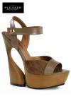 Sandales compensées au look nature 70's en cuir et suédine, talons de 15 cm.