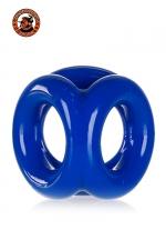 Oxballs Tri-Sport Cocksling - bleu - Cockring bleu police en Flex TPR hyper extensible, avec 3 anneaux pour serrer les bourses, la verge et la base de celle-ci, par Oxballs.