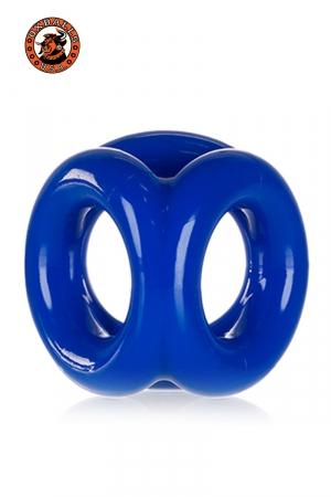 Cockring bleu police en Flex TPR hyper extensible, avec 3 anneaux pour serrer les bourses, la verge et la base de celle-ci, par Oxballs.