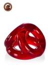 Cockring rouge transparent en Flex TPR hyper extensible, avec 3 anneaux pour serrer les bourses, la verge et la base de celle-ci, par Oxballs.