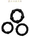 Ensemble de 3 anneaux p�nien, diam�tre 3 � 3,5 cm extensible,  noir, en TPR permettant de prolonger et renforcer l'�rection.