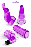 Coffret plaisir compos� d'un mini vibromasseur et de 4 gaines en jelly, id�al pour d�couvrir les jouets intimes.