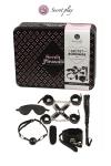 Superbe kit de 8 pi�ces BDSM pr�sent� dans une boite cadeau en m�tal.
