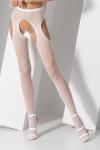 Collants ouverts en r�sille blanche fantaisie avec d�coupe porte-jarretelles sexy.