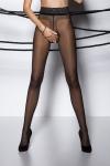 Collants ouverts � l'entre-jambes en voile noir, avec une large ceinture dentelle.