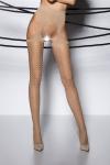 Collants ouverts sur l'intimit� et les hanches en voile beige d�cor� de motifs g�om�triques.