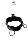 Collier BDSM en cuir avec 3 anneaux de bondage, boucle � anneau pour cadenas, et attache de bondage dorsal.