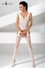 Combinaison BS046 - Blanc - Combinaison résille blanche à jarretelles, tellement sexy et féminine.