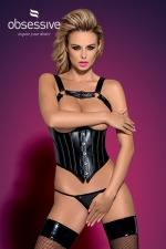 Corset Darksy  - Superbe corset sexy, seins nus, et son string assorti, par Obsessive.