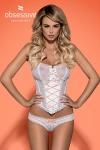 Splendide corset blanc (et son string assorti)avec bretelles d�tachables de la marque de lingerie Obsessive.