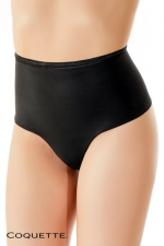 String culotte taille haute  - Un string taille haute noir opaque, qui affine naturellement la silhouette.