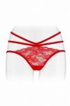 Culotte coquine rouge, en dentelle et ornements, offrant largement la vue sur les fesses, par Fashion Secret.
