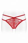 String coquin rouge en dentelle et ornements crois�s, ouvert entre les cuisses, par Fashion Secret.