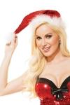 Bonnet de Noël surbrodé de sequins rouges brillants, avec bordure et pompon de douce fourrure blanche.