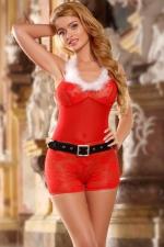 Déguisement mère Noel combishort - Déguisement sexy de mère Noel avec combishort en dentelle rouge, marque Paris Hollywood.