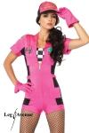 Fin de s�rie : uniquement disponible en XS. Costume Pit Crew : combishort zipp�, top bandeau � damier, gants, casquette.