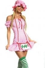 Costume sexy Strawberry Girl - Costume de Charlotte aux Fraises sexy : bonnet, robe et bas à rayures.