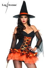 Costume sorci�re Hocus Pocus - Costume de sorci�re adorablement sexy, robe, manches voile et chapeau pointu.