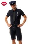 Costume 5 pi�ces de Policier : chemise et cravate, short, ceinture, casquette et menottes.