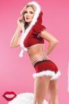 Costume sexy de Mère Noël 2 pièces, short et top à capuche en velours rouge bordé de fourrure toute douce.