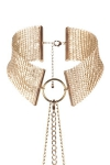 Collier m�tallique dor� ambiance porno chic et BDSM soft, collection D�sir M�tallique, par Bijoux Indiscrets.