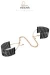 Des bracelets originaux en m�tal noir qui se transforment en menottes dans l�intimit�.